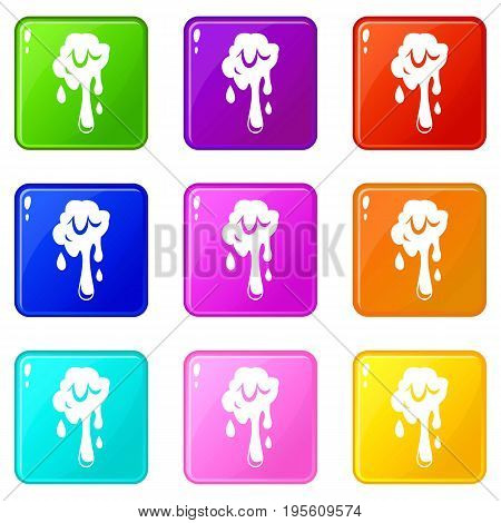 Dripping slime icons of 9 color set isolated vector illustration