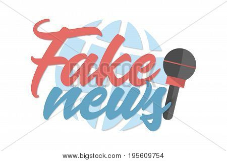 Fake news banner with microphone and globe on white background. Vector illustration