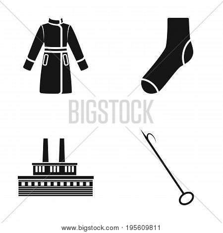 clothing, fashion and or  icon in black style.fire, oil refining icons in set collection.