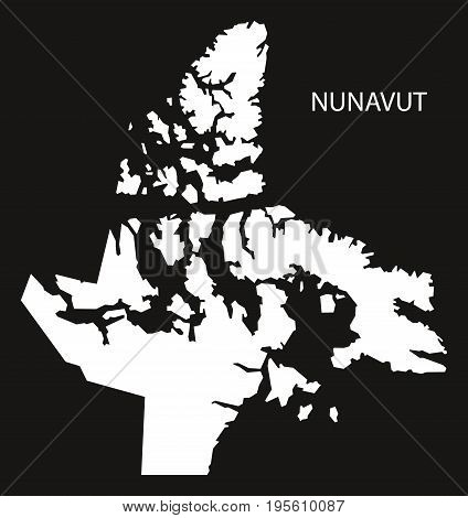 Nunavut Canada Map Black Inverted Silhouette Illustration Shape