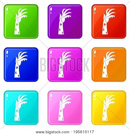 Zombie hand icons of 9 color set isolated vector illustration