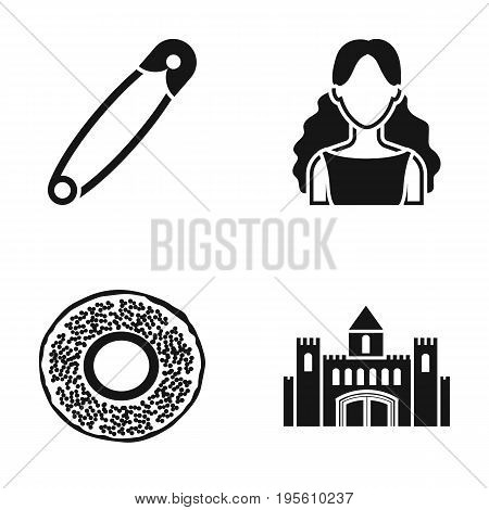 beauty, hairdresser and or  icon in black style. bakery, history icons in set collection.