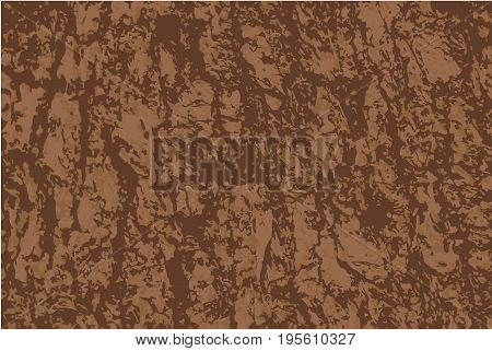 Vector grunge background. Old bark tree texture. Brown wooden backdrop.