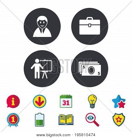 Businessman icons. Human silhouette and cash money signs. Case and presentation symbols. Calendar, Information and Download signs. Stars, Award and Book icons. Light bulb, Shield and Search. Vector