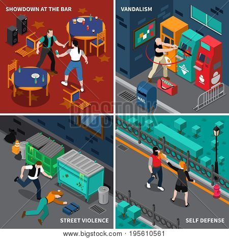 Hooliganism isometric compositions with fight at bar and self defense street violence and vandalism isolated vector illustration