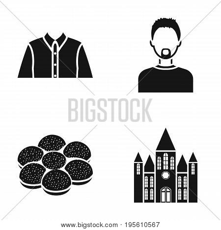 history, profession and or  icon in black style.cooking, fashion icons in set collection.