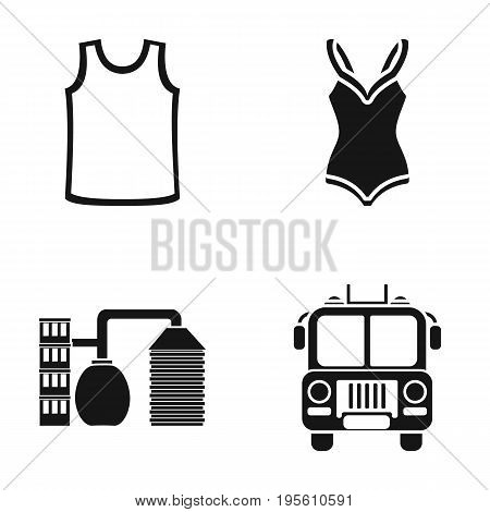 clothing, sports and or  icon in black style.refining, fire icons in set collection.