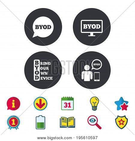 BYOD icons. Human with notebook and smartphone signs. Speech bubble symbol. Calendar, Information and Download signs. Stars, Award and Book icons. Light bulb, Shield and Search. Vector