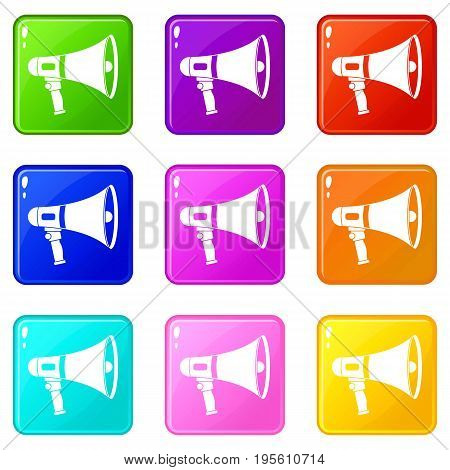 Megaphone icons of 9 color set isolated vector illustration