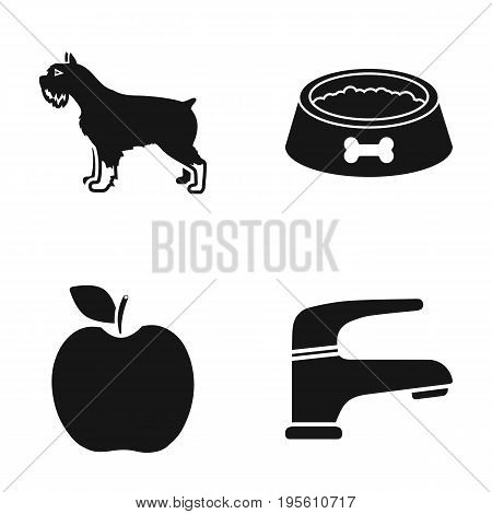 breed, cooking and or  icon in black style.vet, plumbing icons in set collection.