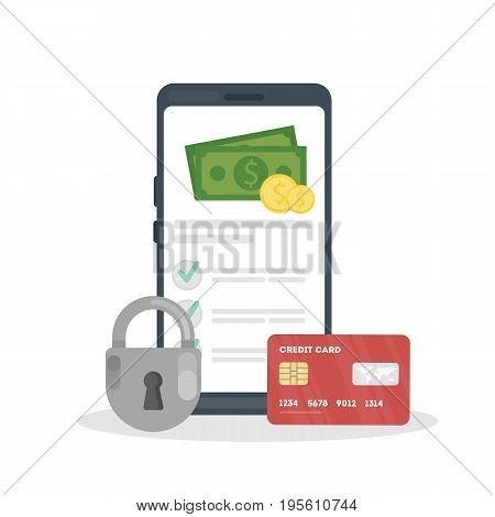 Money security concept. Online transaction through smartphone with credit card. Safe payment.