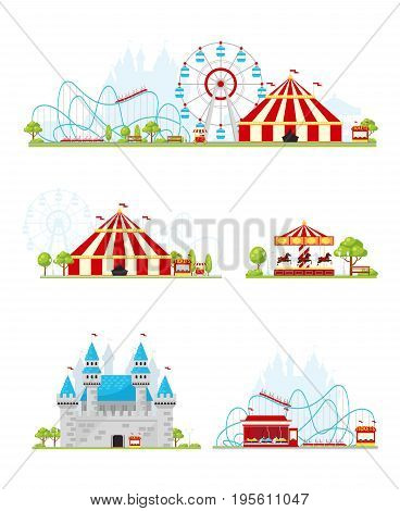 Colored and isolated amusement park banner or bookmark set on white background vector illustration