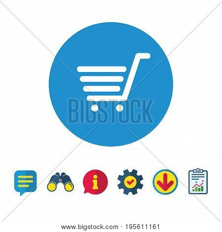 Shopping Cart sign icon. Online buying button. Information, Report and Speech bubble signs. Binoculars, Service and Download icons. Vector