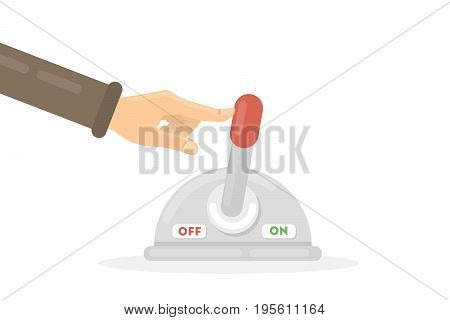Hand with lever on white background. Idea of operator, switching and machinery.