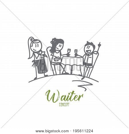 Waiter concept. Hand drawn smiling female waiter in apron writing order near clients. Waitress guests at a table in a cafe isolated vector illustration.