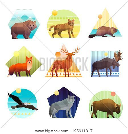 Colorful polygonal emblem of different shape set with wild animals and birds isolated on white background vector illustration