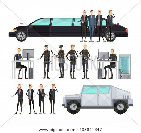 Colored flat intelligence agency flat composition set with employees who provide security vector illustration