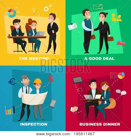 Four square business people concept icon set with the meeting a good deal inspection and business dinner descriptions vector illustration