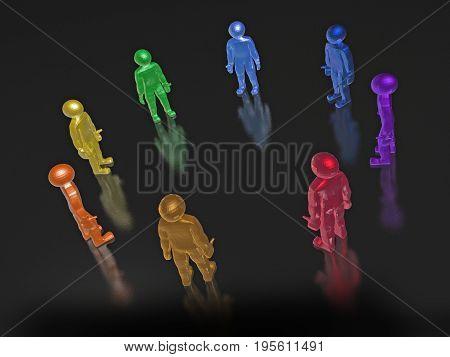 Round dance of color men on the black background 3D illustration.