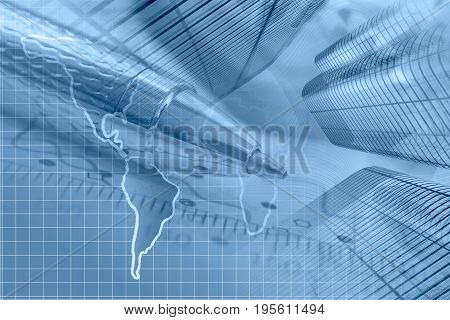 Business background in blues with map buildings and pen.