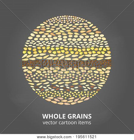 Different cartoon whole cereal grains composed in circle shape.