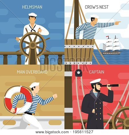 Sail ship crew members at work 4 flat icons square with helmsman captain sailors isolated vector illustration