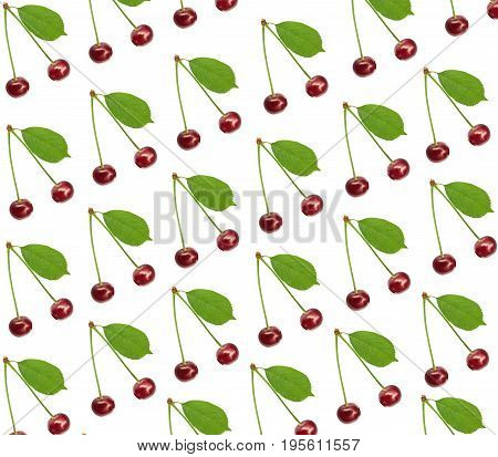 Seamless pattern sweet fresh cherry with green leaf isolated on white background