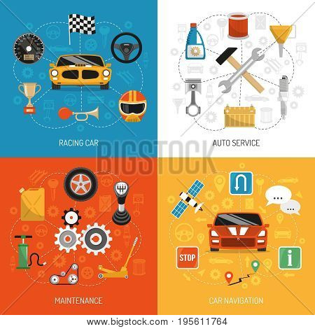Racing car auto service maintenance and navigation 4 flat icons set square background concept isolated vector illustration