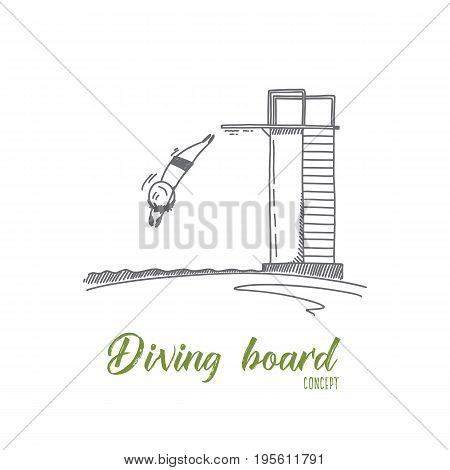 Diving board concept. Hand drawn person jumping from diving board in pool. Happy diver during swimming competition isolated vector illustration.