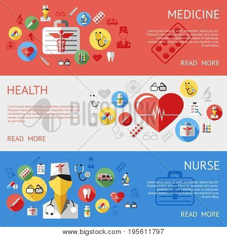 Digital vector blue red silver pharmacy medical icons set with drawn simple line art info graphic, ambulance tooth pills nurse heart tubes syringe medicine dropper first aid thermometer, flat style