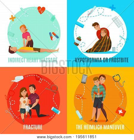 Four square icon set with emergency first aid people concept and with indirect heart massage fracture hypothermia and the heimlich maneuver descriptions vector illustration