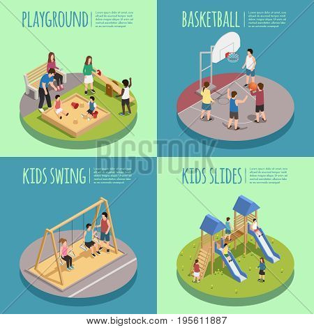 Children playground isometric compositions including kids in sandbox, basketball game, swings and slides isolated vector illustration