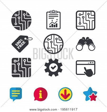 Circuit board icons. Technology scheme circles and squares sign symbols. Browser window, Report and Service signs. Binoculars, Information and Download icons. Stars and Chat. Vector