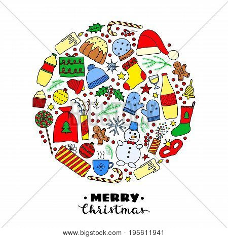 Christmas and New Year holiday doodle colored items composed in circle shape.