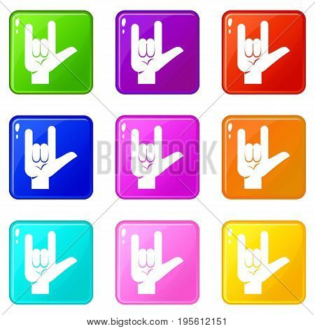 Rock gesture icons of 9 color set isolated vector illustration