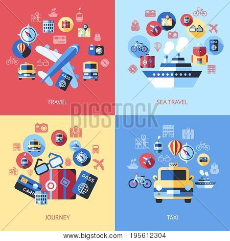 Digital vector blue red travel icons set with drawn simple line art info graphic poster promo, ship boat camera balloon luggage compass air plane map globe taxi card hotel bicycle free, flat style