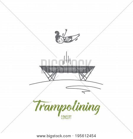 Trampolining concept. Hand drawn young female sportsman jumping on a trampoline. Woman jumping on trampoline isolated vector illustration.