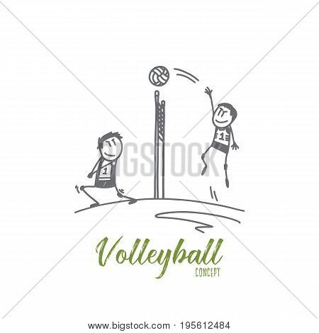 Volleyball concept. Hand drawn professional volleyball players in action on the court. Volleyball game isolated vector illustration.