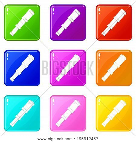 Spyglass icons of 9 color set isolated vector illustration