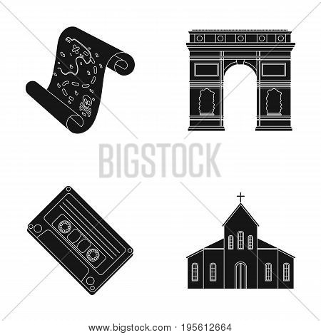 travel, art and or  icon in black style. Adventure, religion icons in set collection.