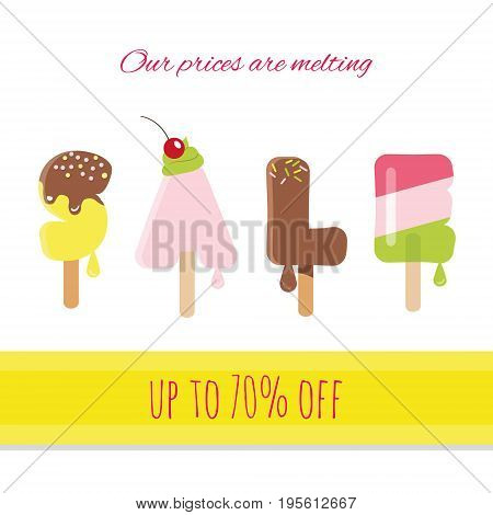 Sale ice-cream melted letters isolated on white. Summer discounts. Vector.