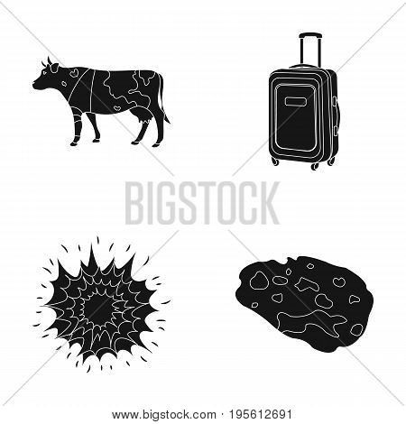 travel, agriculture and or  icon in black style.space, weapons icons in set collection.
