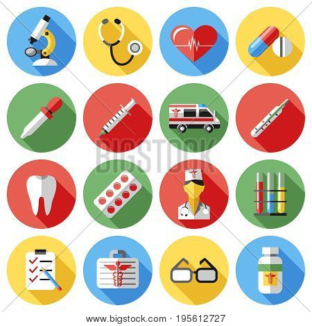 Digital vector red yellow blue medical icons with drawn simple line art info graphic, ambulance tooth pills nurse heart tubes syringe medicine dropper first aid thermometer, flat style