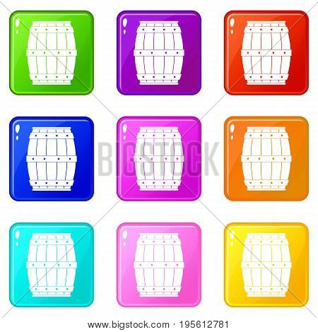 Wooden barrel icons of 9 color set isolated vector illustration