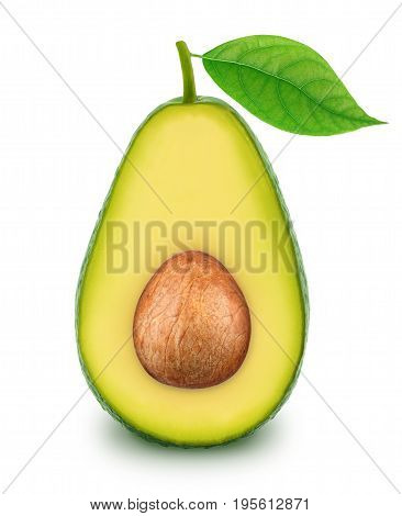 Half of green avocado with leaf isolated on white background.