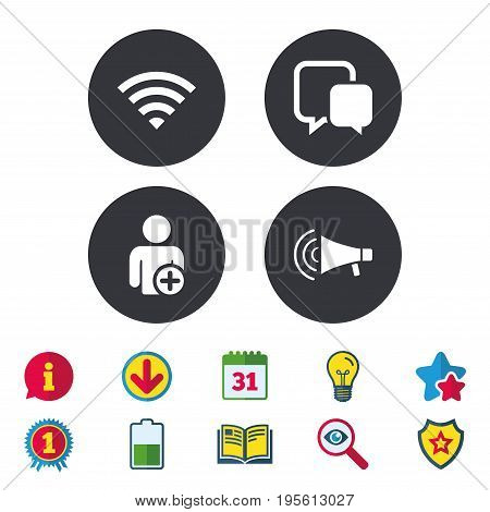 Wifi and chat bubbles icons. Add user and megaphone loudspeaker symbols. Communication signs. Calendar, Information and Download signs. Stars, Award and Book icons. Light bulb, Shield and Search
