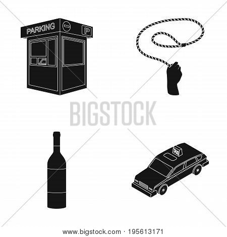 transport, alcohol and or  icon in black style. animal, service icons in set collection.