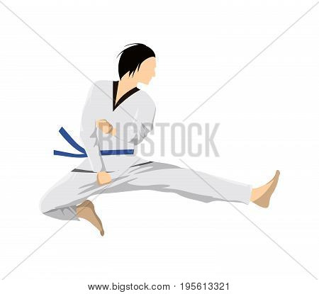 Taekwondo sport athlete. Man in uniform posing. Jumping