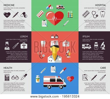 Digital vector blue red green pharmacy medical icons set with drawn simple line art info graphic, ambulance tooth pills nurse heart tubes syringe dropper first aid thermometer hospital, flat style