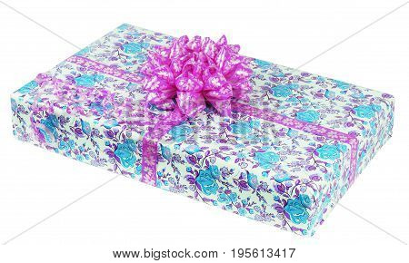 gift box with ribbon on white background.